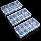 3 Pieces False Nail Tips Transparent Storage Box with 10 Number Empty Spaces Storage Case Container Nail Art Organizer Box Plastic Grid Box for Fingernail Crystal, Jewelry, Nail Accessories