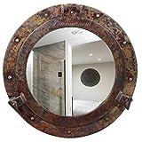 Espejo de buey náutico de cobre rústico con naufragio   Espejos de baño náuticos   Nagina International (20 pulgadas, espejo de aluminio)