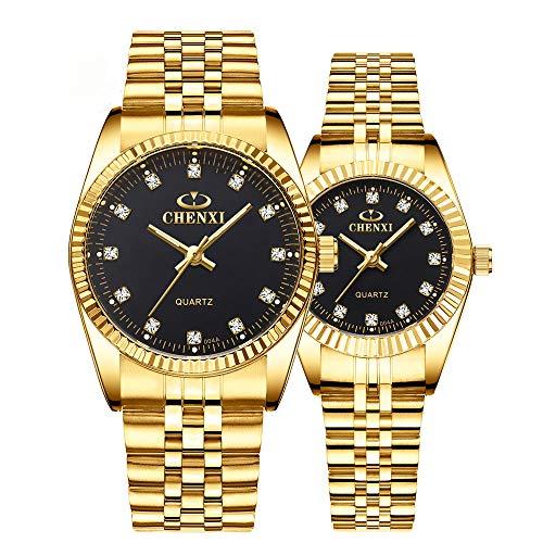 Relojes de Pulsera para Mujer Reloj de Negocios para Hombre 3ATM Impermeable Correa de Malla de...