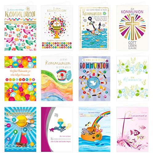 24 Stück Kommunionskarten Klappkarten mit Umschlag - Glückwunschkarte zur Kommunion …