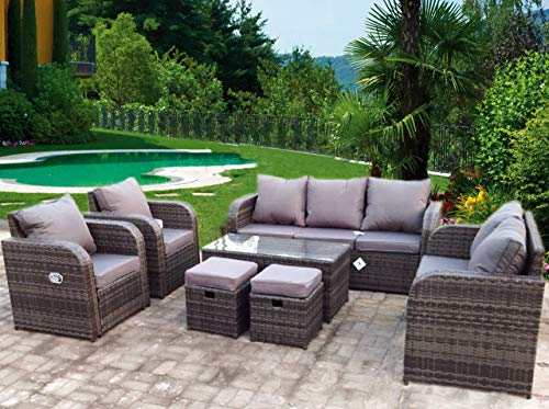 UK Leisure World NEW RATTAN WICKER CONSERVATORY OUTDOOR GARDEN RECLINER FURNITURE SET CORNER SOFA TABLE (Grey with grey cushions)