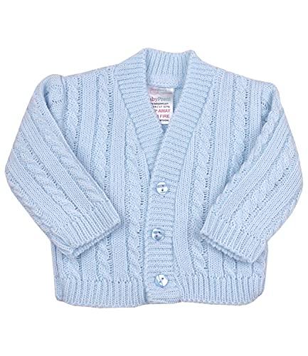 Babyprem Premature Baby Cardigan Jacket Cable Knit Acrylic 5.5-7.5lb Blue 44-50cm