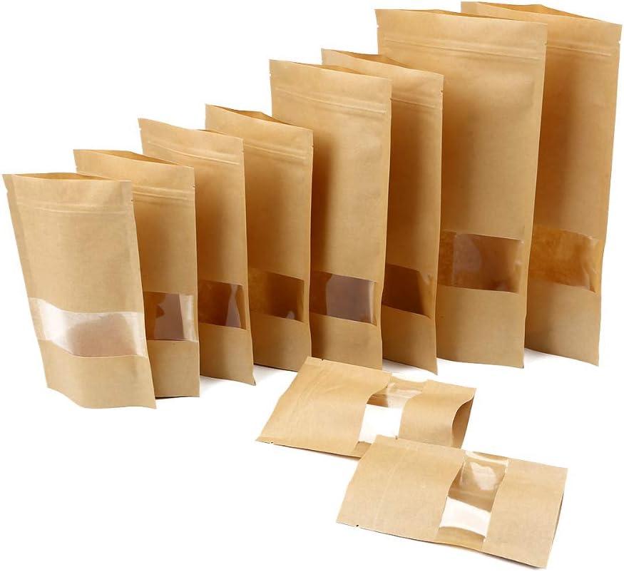 Wis-Life Bolsa de papel kraft bolsa de papel kraft con cremallera permanente, bolsa de papel kraft con ventana transparente, sellada con clip de cremallera (kp23*35cm 15pcs)