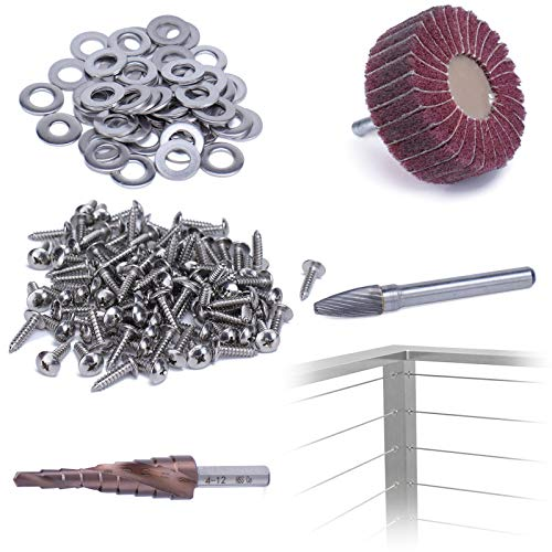 Muzata Cable Railing System Handrail Install Tool for Brushed Top Rail on Wood Metal Post,Include HSS Triangle Pagoda Step Drill Bit/Grinder/Rotary Cutting Burs/Buffing Wheel HA18 BP6,HR6