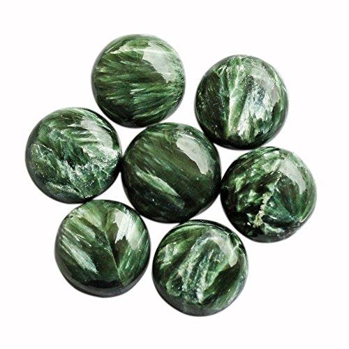 Cabochon rond en seraphinite verte de 25 mm, pierre précieuse naturelle, prix de gros, pierre verte SN 25 mm