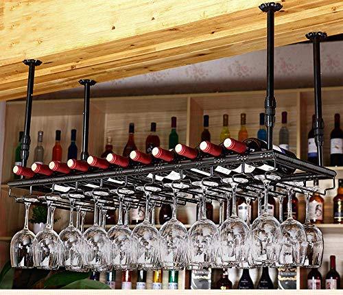 GAXQFEI Cocina Copa de Vino Alenamiento Rack Metal Hierro Pared Montado Vino Montado Champagne Copos de Vidrio Stemware Rack Holder Glassware Rack Techo Techo Vino Barware Racks-Bronce-100 * 35 cm F