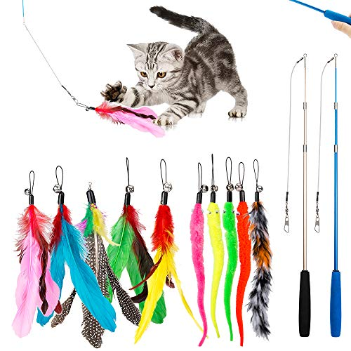 JIARON Cat Feather Toy, 2PCS Retractable Cat Wand Toys and 10PCS Replacement Teaser with Bell Refills, Interactive Catcher Teaser and Funny Exercise for Kitten or Cats.