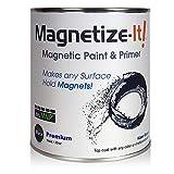 Magnetize-It! Magnetic Paint & Primer (Water Based) – Premium Yield 32oz (MIPYD-1554), Black