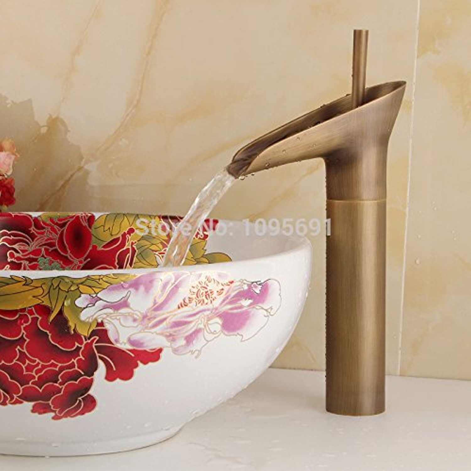 U-Enjoy New Style Antique Top Quality Copper Finish Waterfall Bathroom Home Bathroom Kitchen Sink Faucet Brass Faucet (Free Shipping)