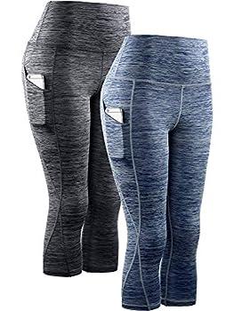 Neleus Women s 2 Pack Yoga Capris Running Leggings with Pockets,9034,Black,Navy Blue,L,EU XL