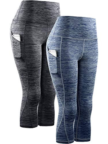 Neleus Women's 2 Pack Yoga Capris Running Leggings with Pockets,9034,Black,Navy Blue,2XL,EU 3XL