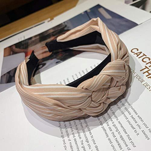 Tony plate Bandeau Coréen Tresse Tissu Bandeau Lunette pour Femmes Rayé Noué Bandeau Large Twist Cheveux Bande Cheveux Accessoires-Rose Clair