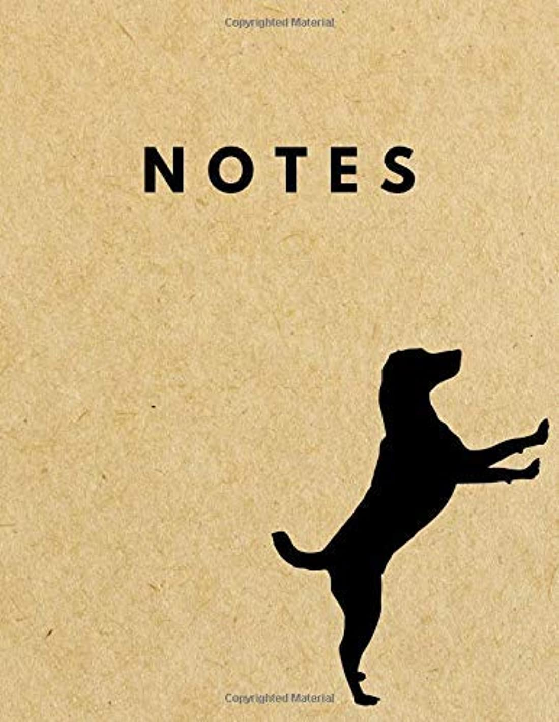 Notes: Unlined Plain Retro Notebook | Large (8.5 x 11 inches) Letter Size | 120 unruled pages | Standing Dog Brown Paper Soft Cover [並行輸入品]