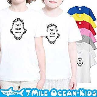 7MILE OCEAN 半袖 プリント キッズ ガールズ 子供服 男の子 女の子 ジュニア サメ シャーク ジョーズ 90 100 110 120 130 140 150 160 ペアルック 140 ASHGREY gsvmkids0136