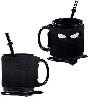Personalized Ninja Creative Ceramic Mug,Office Home,Coffee,Mmilk,Tea,Beverage,Water Cup (black)