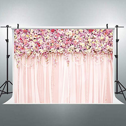 Riyidecor Bridal Floral Wall Backdrop Romantic Rose Flower Photography 10(W) x8(H) Feet Background Pink and White Carpet Decoration Wedding Props Party Photo Shoot Backdrop Blush Vinyl Cloth
