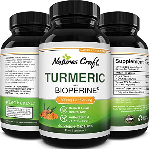 Natural Turmeric and Black Pepper Capsules - 1800MG High Strength Turmeric Supplements with Black Pepper and Antioxidants for Joint Care Heart Health Clear Skin Care and Anti Aging Memory Booster