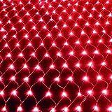 W.zz Red de Luces para Patio, Impermeable, 2000 Luces LED, Red de Malla con 8 Modos de iluminación, Encendido/Apagado automático, para decoración de Valla de Techo (10 m x 8 m) Rojo,1.5 * 1.5