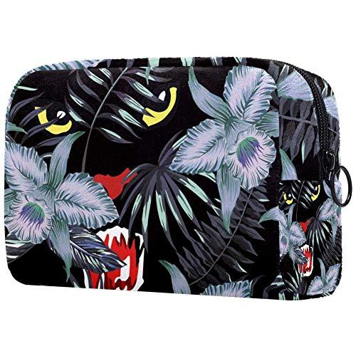 Bolsa pequeña de maquillaje para bolso de viaje con diseño de pantera en la selva, para mujer, de la marca Hunting Panther In The Jungle Pattern