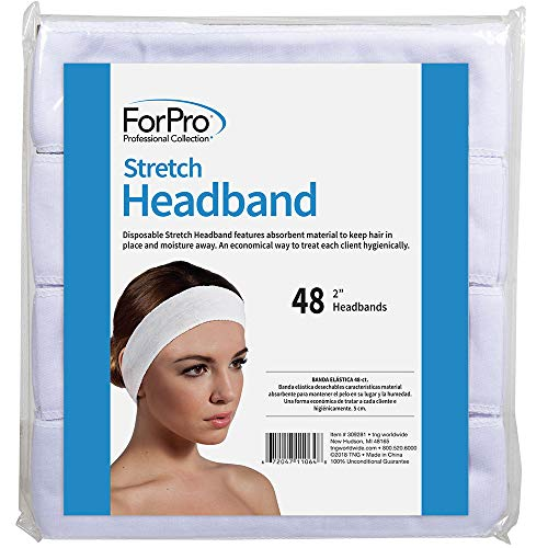 ForPro Professional Collection Stretch Headband, Absorbent Disposable Spa Headbands, 2.25 W x 18 C, 48-Count, Black (309281)