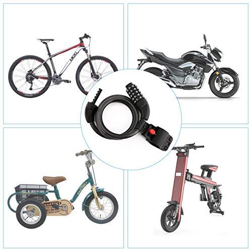 Fahrradschloss, hohe Sicherheit 5-stellige Kabelschloss Kombination Coiling Fahrradschloss mit Halterung, 1.2m x 12mm Kettenschlösser Beste für alle Fahrrad, Motorrad, Tor, Zaun - 6