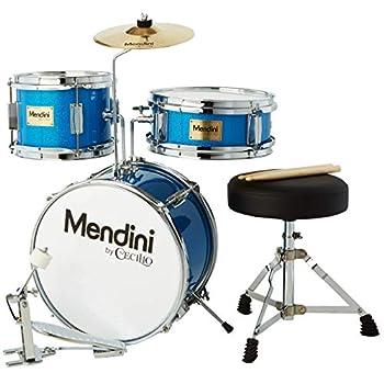 Mendini By Cecilio Kids Drum Set - Junior Kit w/ 4 Drums  Bass Tom Snare Cymbal  Drumsticks Drummer Seat - Beginner Drum Sets & Musical Instruments