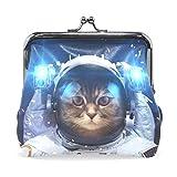 GORIRA(ゴリラ) 任務中 宇宙猫 超繊レザー&木綿 財布 がま口式小銭入れ ミニがま口