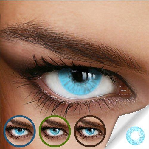 Hellblaue Jahres-Kontaktlinsen Naturally SWEET AQUA – MIT und OHNE Stärke in Light-Blue – von LUXDELUX® – ohne Stärke (+/- 0.00 DPT) - 2
