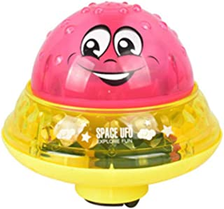 TZOU Baby's Shower Electric Induction Spray Ball Amphibian with Lights Water Spray Bath Toy Red Water Spray Ball + Base