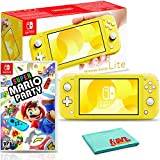 Nintendo Switch Lite (Yellow) Bundle with 6Ave Cleaning Cloth and Super Mario Party