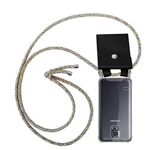 Cadorabo Custodia Collana per Samsung Galaxy S5 / S5 Neo in Rainbow Case a Tracolla – Cover Laccio per Il Collo in Silicone Trasparente con Anelli Argenti, Cordino e Borsello Rimovibile