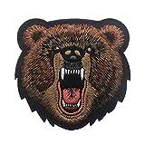 Ohrong Parche bordado de cabeza de oso enojado con bordado de alta calidad, insignia militar táctica...