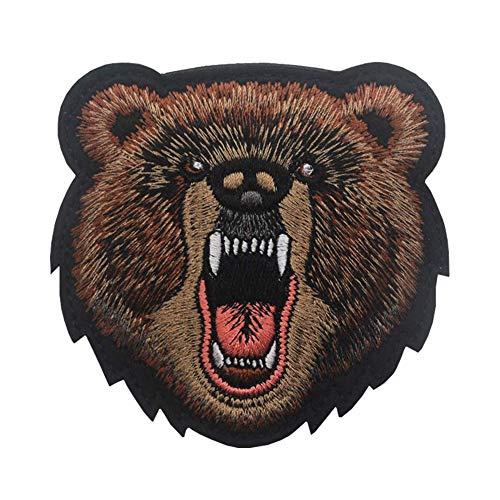 Ohrong Parche bordado de cabeza de oso enojado con bordado de alta...