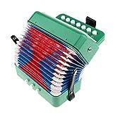 T TOOYFUL Instrumento musical para niños con 3 botones, diseño de acordeón, color verde
