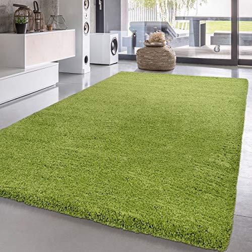 Paco Home Shaggy Hochflor Langflor Teppich Sky Einfarbig in Grün, Grösse:140x200 cm