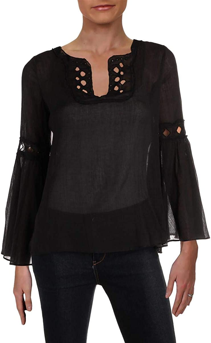 Ranking TOP2 Max Studio London Womens Therese Eyelet Limited Special Price Blouse Bell Sleeves Blac