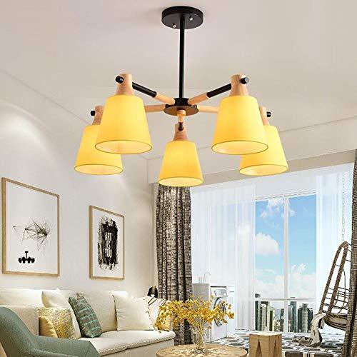 3/5/8 E27 ronde plafondplaat houten lamp lichaam metalen kap kroonluchter eenvoudige huis lampen binnenverlichting kroonluchter (grootte: 75 * 55 cm)