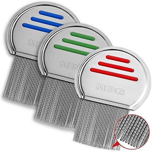 Peines para piojos - (Paquete de 3) Peine para el tratamiento de piojos de la cabeza. Peines profesionales para piojos y liendres de acero inoxidable remueve.