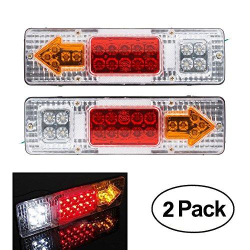 2x Anhänger Rücklichter 19 LED Bremslichter 12V Lkw Caravan Auto Rücklichter Stop-Rückfahrleuchte Wasserdichte Pfeile Lampe