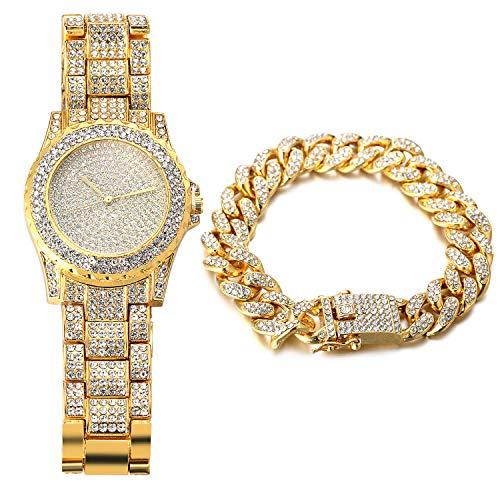 Halukakah Reloj de Oro Hombres Iced out,Chapado en Oro Real de 18k Pulsera de Cuarzo 8.7'(22cm),con Pulsera Cubana 8'(20cm),Cz Completo Diamante de Laboratorios,Gratis Caja de Regalo