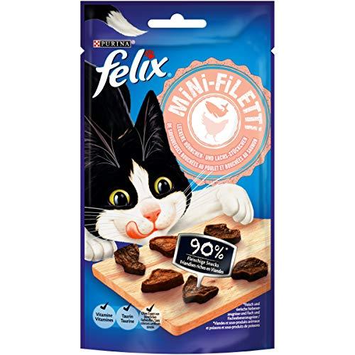FELIX Mini-Filetti - Caruchas para Gatos con 90 % de Carne, con Pollo y salmón, 7 Unidades (7 x 40 g)