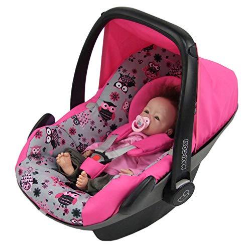 BAMBINIWELT Ersatzbezug für Maxi-Cosi PEBBLE 5-tlg, Bezug für Babyschale, Komplett-Set *NEU* PINK MIT EULEN §12