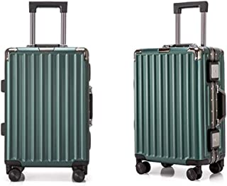 SMLCTY 4 Wheel Suitcase,hand Luggage Suitcases,Lightweight Portable Breathable Large Capacity ABS+PC Waterproof and Wearable Large Capacity (Color : Green, Size : 20 inch)