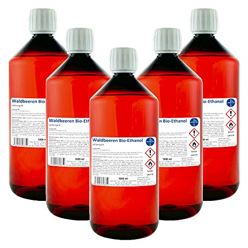 Waldbeeren Alkohol I Kamin-Ethanol I vollvergällt I 5 x 1000 ml I Bioethanol I HERRLAN-Qualität I Made in Germany