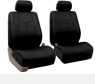 FH Group FH-PU009102 Rome PU Leather Pair Set Car Seat Covers, Solid Gray Color- Fit Most Car, Truck, SUV, or Van
