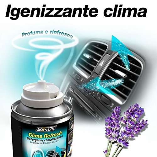 BROS PULITORE IGIENIZZANTE Spray CLIMATIZZATORE Auto SUV Furgone Camper Camion - Trattamento Professionale - + 1 Adesivo da pc Ricambi Auto Europa Gratis (Igienizzante Clima - Lavanda)
