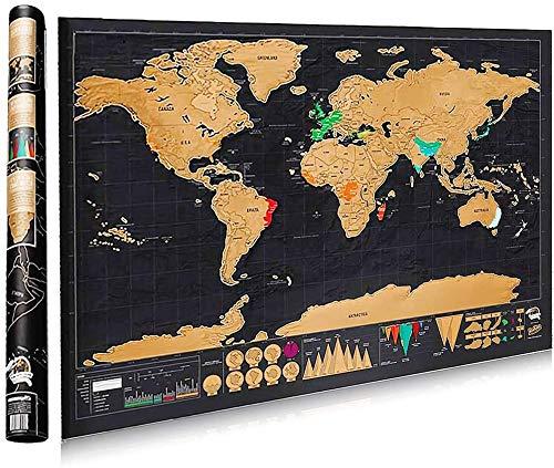 ZUNTO Mappa del Mondo - Cartina Mondo da Grattare di Rame e Materiale di Stagno Muro Poster Regalo Perfetto per i Viaggiatori Fai da Te(nero | 82x 60cm)
