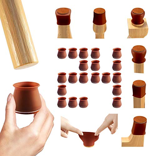 Silicone Chair Leg Floor Protectors - 24 Mixed Packs, Include Small and Big Size, Furniture Silicone Leg Covers with Anti-Slip Felt Pads, Quieter Home, for Round or Square Legs. Dark Walnut