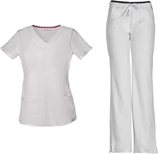 Women's Pitter-Pat Shaped V-Neck Top 20710 & Heartbreaker Drawstring 20110 Pant Scrub Set