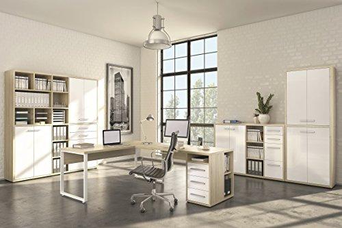 Komplettes Arbeitszimmer - Büromöbel Komplett Set Modell MAJA SET+ in Eiche Natur / Weißglas (SET 1)